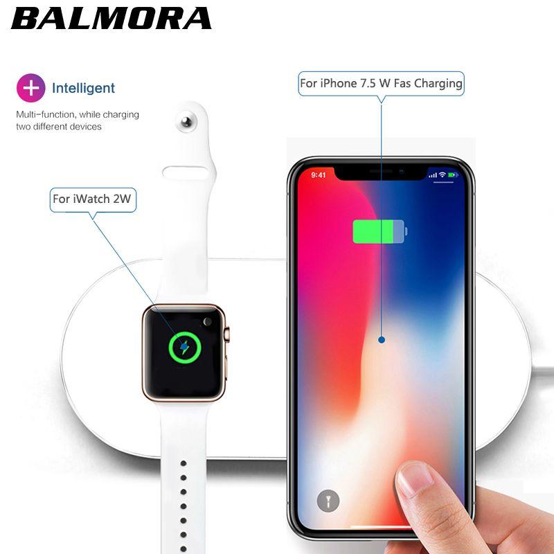 BALMORA Wireless-qi-ladegerät Pad Schnellladung Für iWatch 3 2 QI ladegerät Für Sumsang S6 S7edge S8 S8P AirPower für iphone 8 plus x