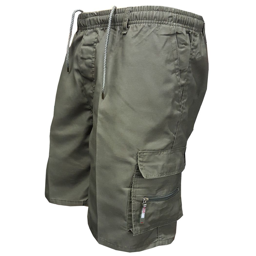 <font><b>2018</b></font> Men Multi Pocket Military Cargo Shorts Casual Cotton Loose Knee Length Army Tactical Shorts Homme Summer Male Sweatpants