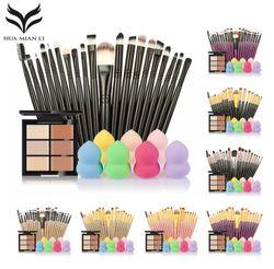 Maquillaje pinceles Set 6 colores Concealer paleta maquiagem Puff 20 cepillos cara contorno cosméticos maquillaje herramientas pinceles maquillaje -up