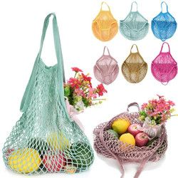 2018 New Mesh Net Turtle Bag String Shopping Bag Reusable Fruit Storage Handbag Totes Women Shopping Mesh Bag Shopper Bag