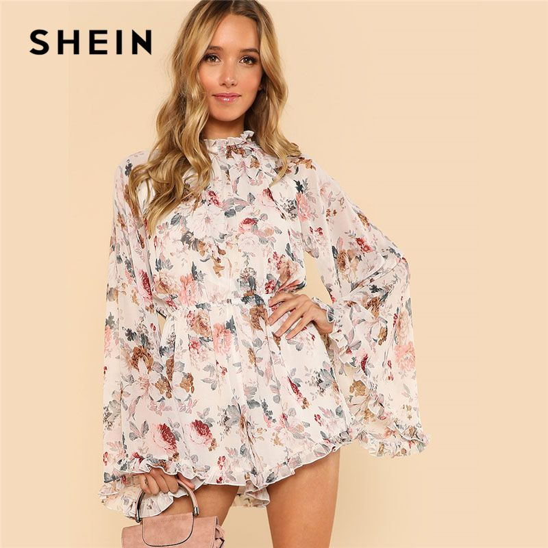 SHEIN Exaggerated Flare Sleeve Frill Flora Print Boho Romper 2018 Women <font><b>Stand</b></font> Collar Long Sleeve Ruffle Loose Chiffon Playsuits