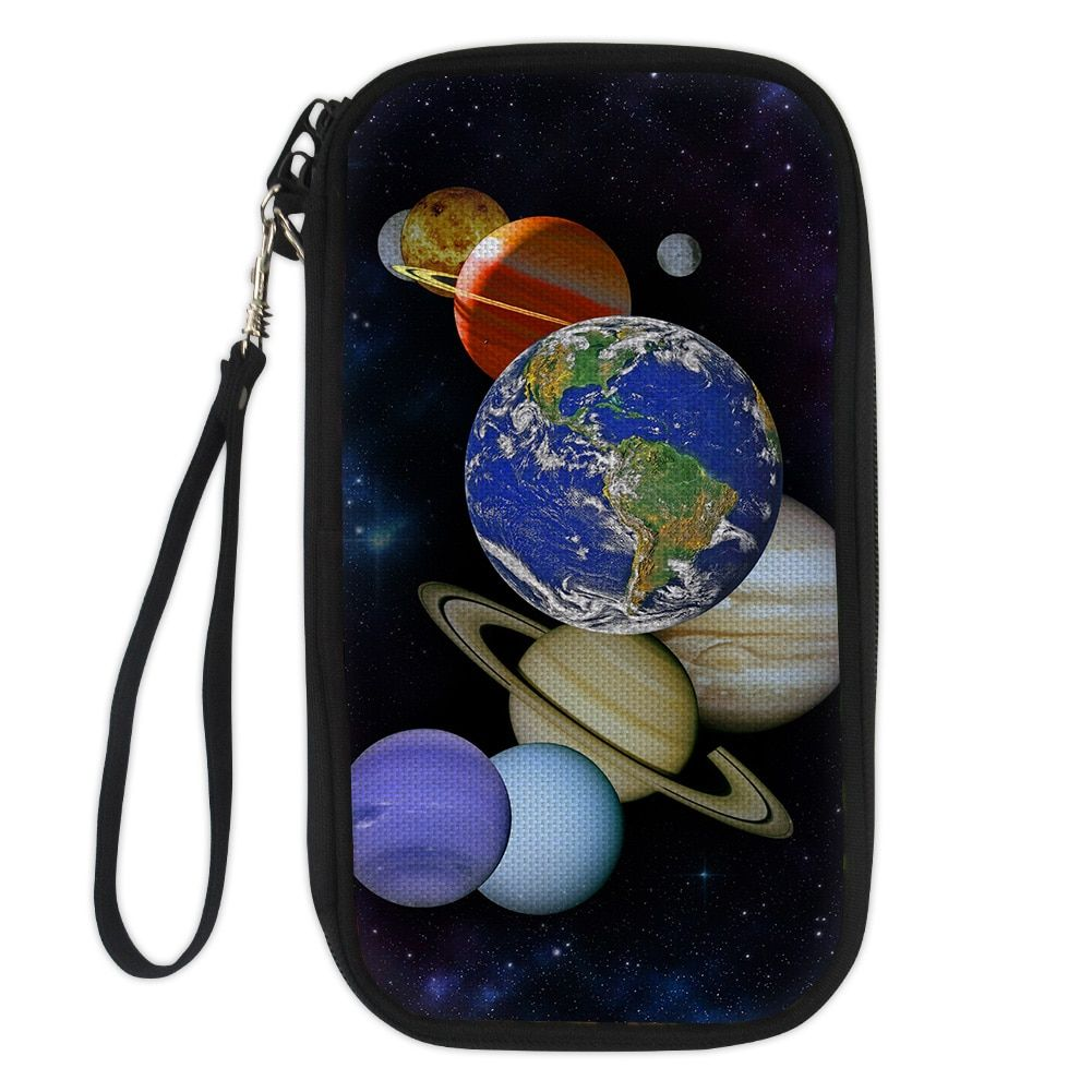 ELVISWORDS Planet Funny Auto Driver License Bag Cover for Car Driving Document Card Passport Holder Purse Wallet Case Sling Bags