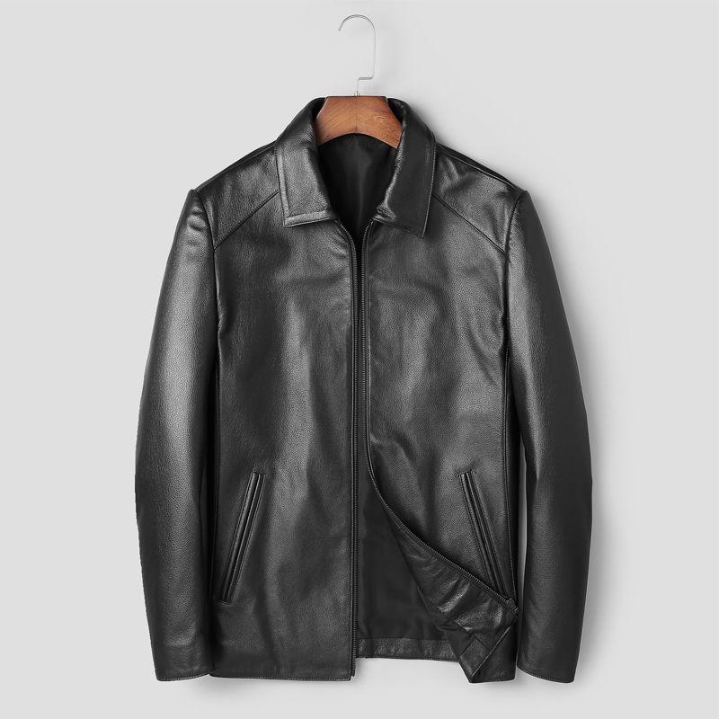 Echtes Leder Kuh Jacke Echt Leder Herren Jacke Smart Casual Neue Stil Aus Echtem Leder Mantel Männer Herbst Winter Kleidung Neue