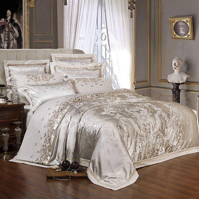 Weiß Silber Luxus Satin Jacquard bettwäsche-sets Stickerei bett gesetzt könig bettbezug bettlaken set kissenbezug 4/6 stücke