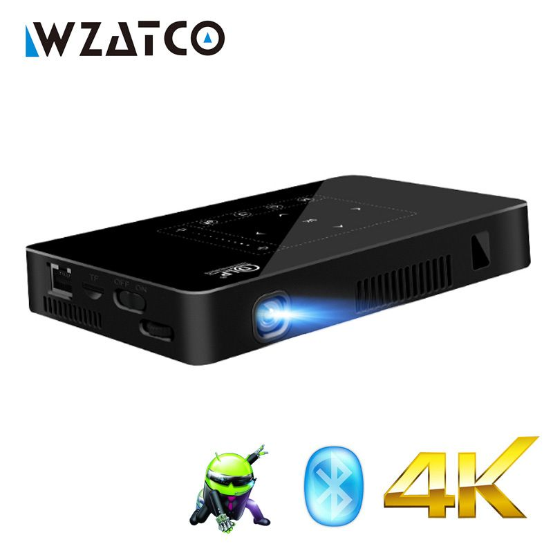 WZATCO T8I Android 7.1 WIFI Bluetooth Mini LED full HD 1080P 4K Projector Portable Smart Home Theater Pocket Proyector Beamer
