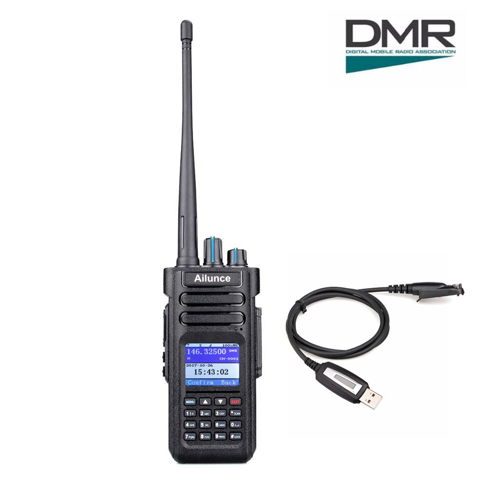 Retevis Ailunce HD1 Dual Band DMR Digital Walkie Talkie DCDM TDMA VHF UHF Ham Radio Hf Transceiver + Program Cable