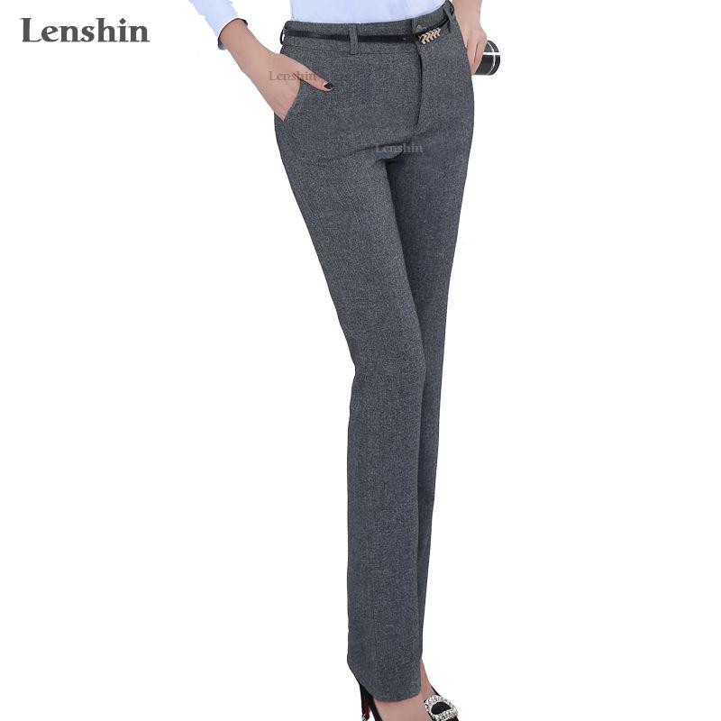Lenshin Plus Size Formal Adjustable Pants for Women Office Lady Style Work Wear Straight <font><b>Belt</b></font> Loop Trousers Business Design