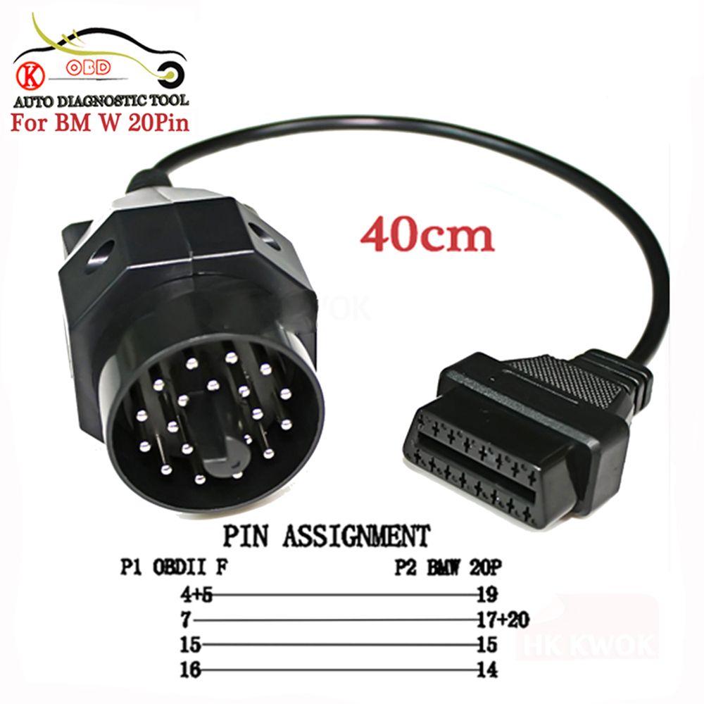 KWOKKER pour bmw 20 broches mâle à 16PIN femelle OBD2 câble voiture Auto Diagnostic connecteur 20pin adaptateur câble outil livraison gratuite