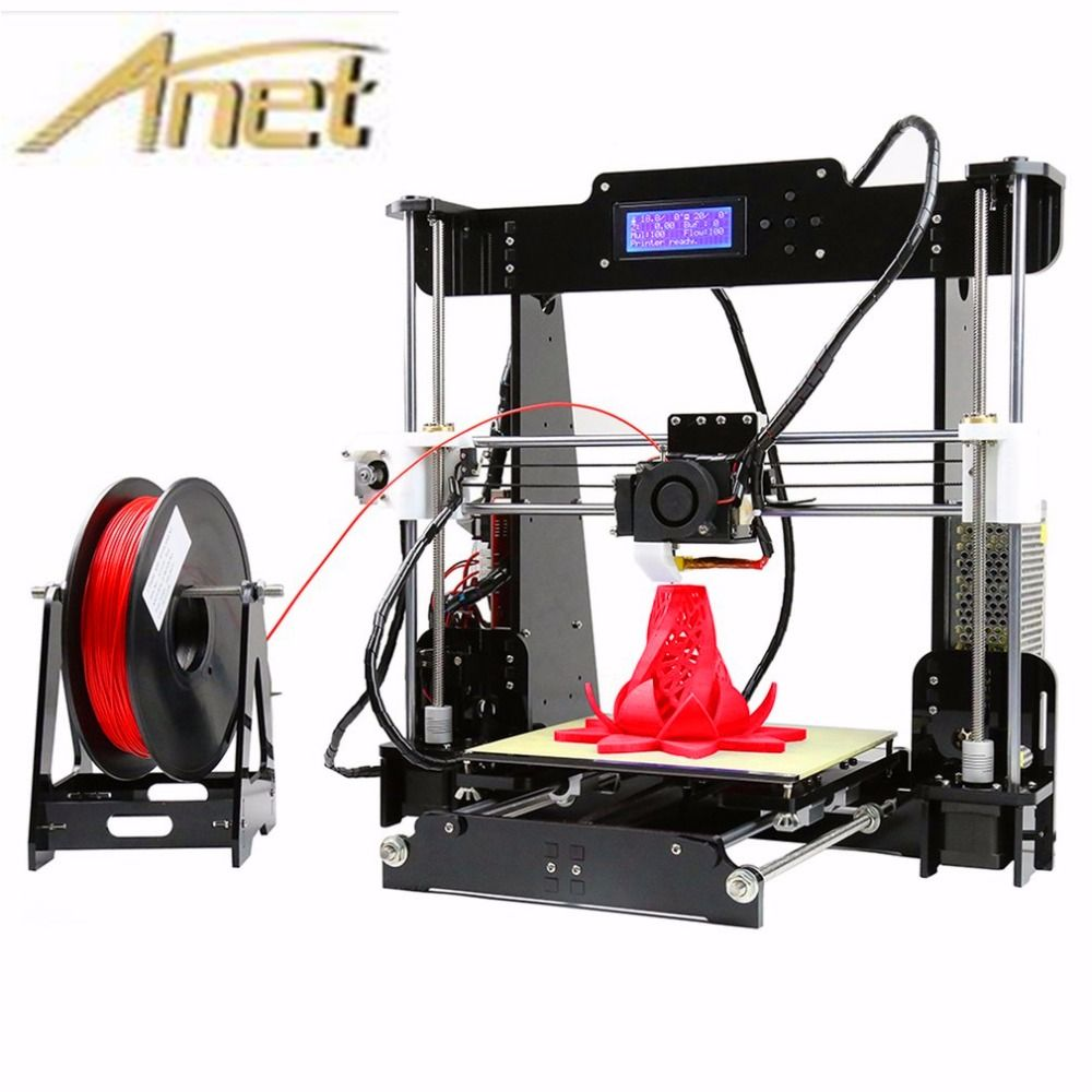 Upgrade Auto leveling Prusa i3 3D Printer kit diy Anet A8 3d printer with Aluminum Hotbed Free 10m Filament 8GB card LCD 2017