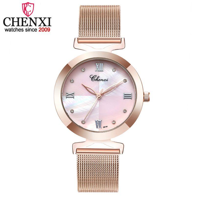 Chenxi de lujo mujer relojes de pulsera de malla de acero o cuero pulsera cuarzo reloj de pulsera de señoras Relojes Mujer
