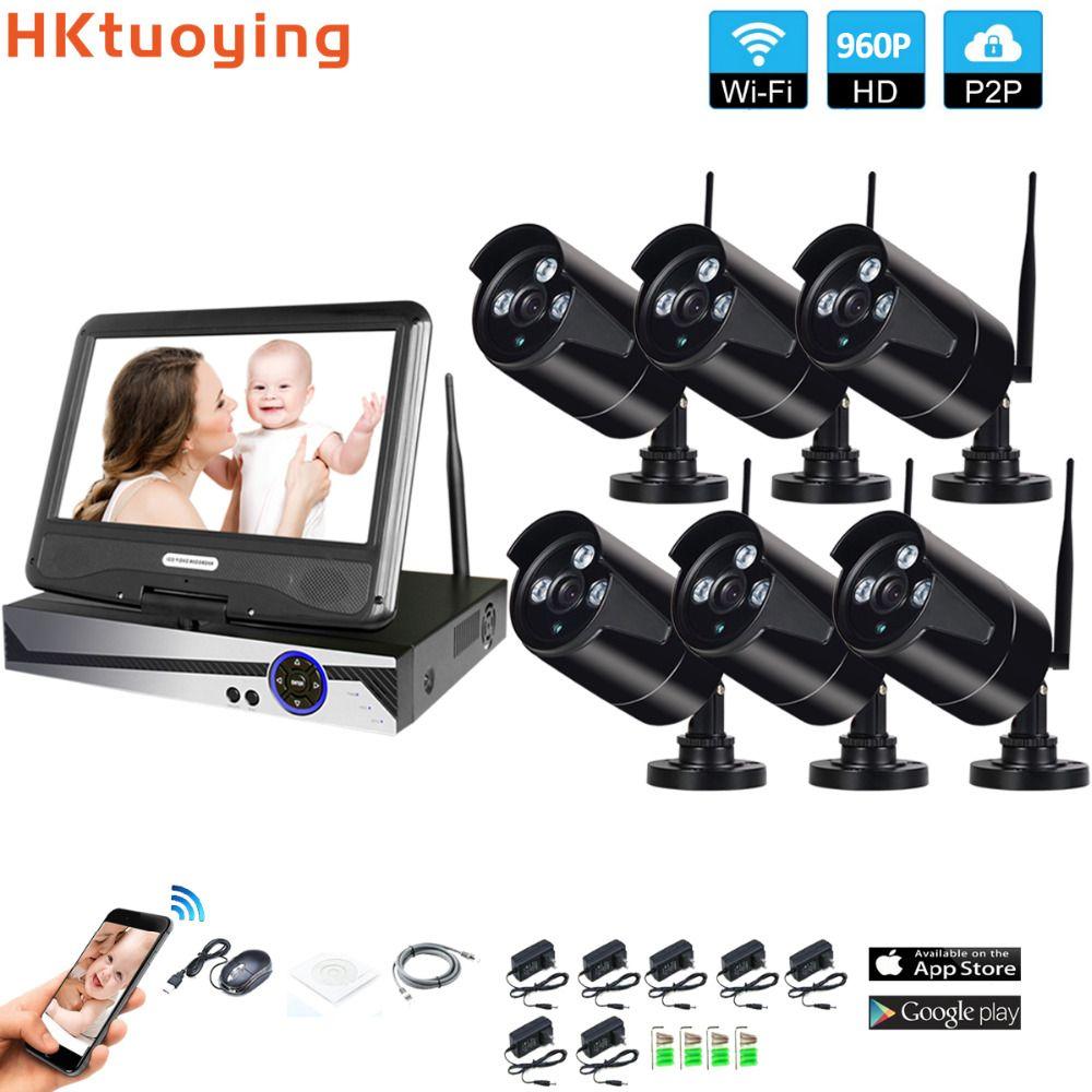 Drahtlose Überwachungs System Netzwerk 10,1 LCD Monitor NVR Recorder Wifi Kit 6CH 960 P HD Video Eingänge 6 PS 1.3MP Sicherheit Kamera
