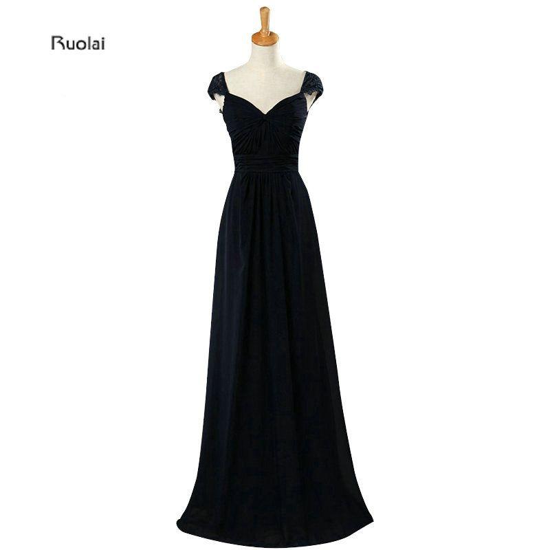Azul Marino Sombreros de encaje mangas una línea de gasa simple longitud del piso larga Vestidos de dama de honor de la dama de honor vestido por encargo