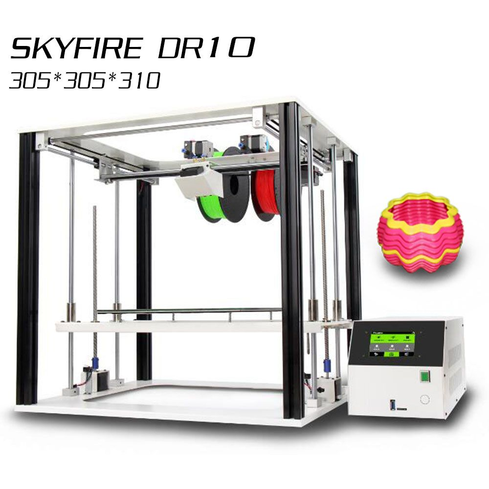Noulei 3D Printer Touch Screen DR10 Dual Color extruder High Precision two Z axis All Metal Frame Lager Print Size Impresora 3 D