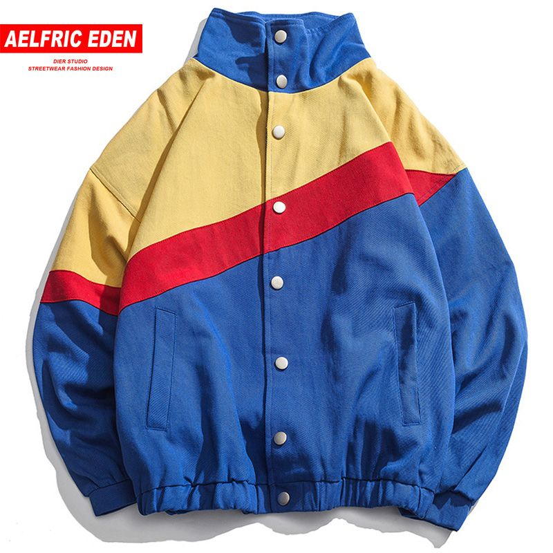 Aelfric Eden Color Block Patchwork Windbreaker Jackets 2018 Autumn Mens Fashion Striped Single Breasted Baseball Overcoats CV03