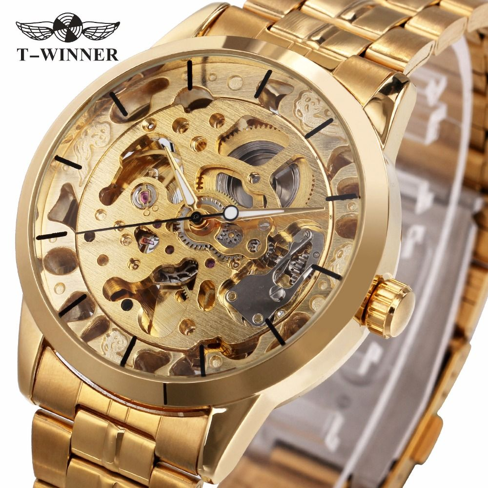 WINNER Luxury Golden Men Automatic Mechanical Wrist Watches Skeleton Louvre Series Luminous Hands Full Stainless Steel Watches