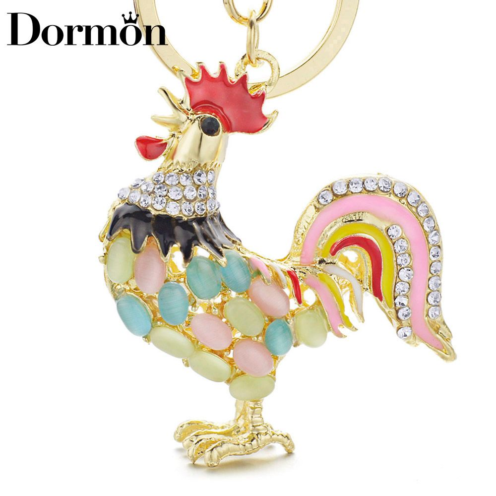 Dormon сплав металла петух курица ключ Цепи кристалл сумочка кулон милый брелок держатель Цепи для автомобиля Для женщин dk131