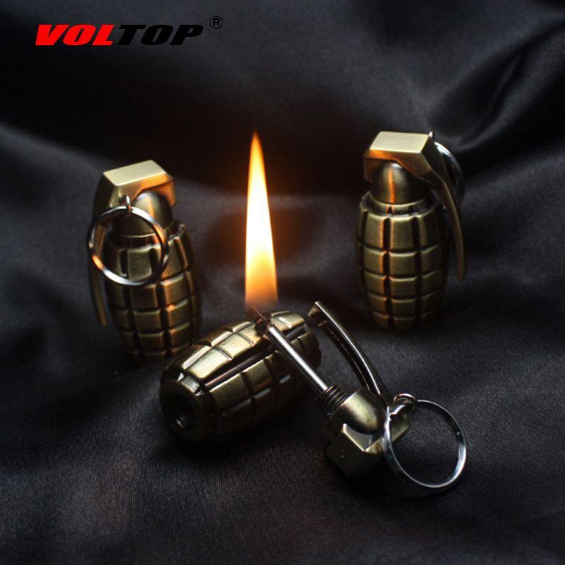 VOLTOP Kerosene Lighter Key Ring Grenade Modelling Cigarette Lighter Keychain Match Key Chain Creative Military Keyring Pendant