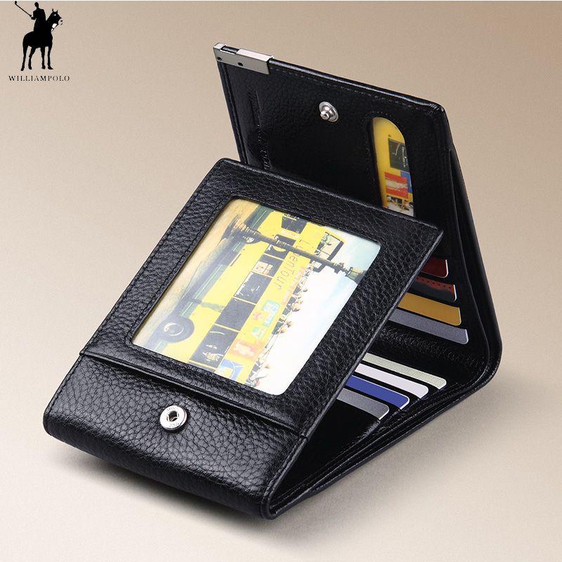 WILLIAMPOLO Trifold Brieftasche Faltbare Kurze männer Brieftasche Aus Echtem Leder Geldbörse Schwarz Braun Münzfach Karte Halter Mode 3 Falten