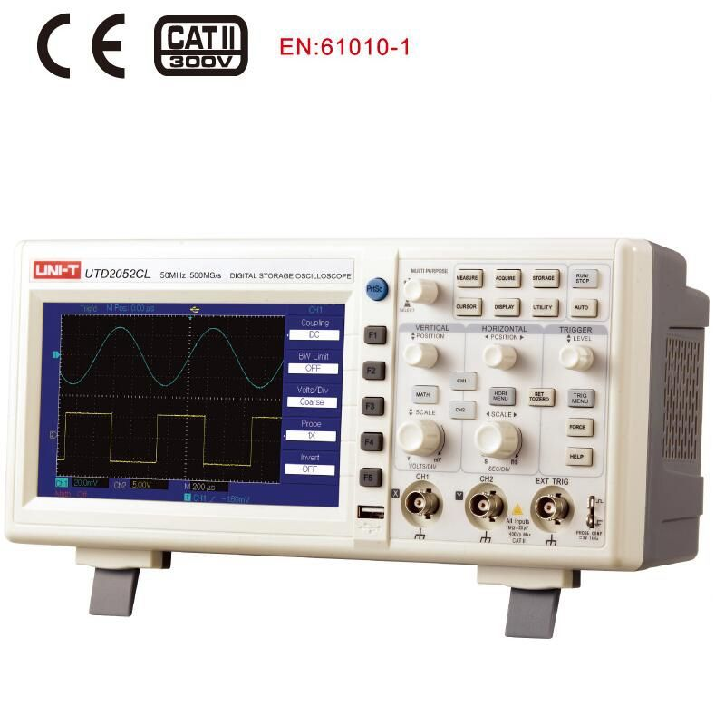 UNI-T UTD2052CL oscilloscope 50MHz 500Ms/s USB Digital Storage Oscilloscope DSO 2 Channels
