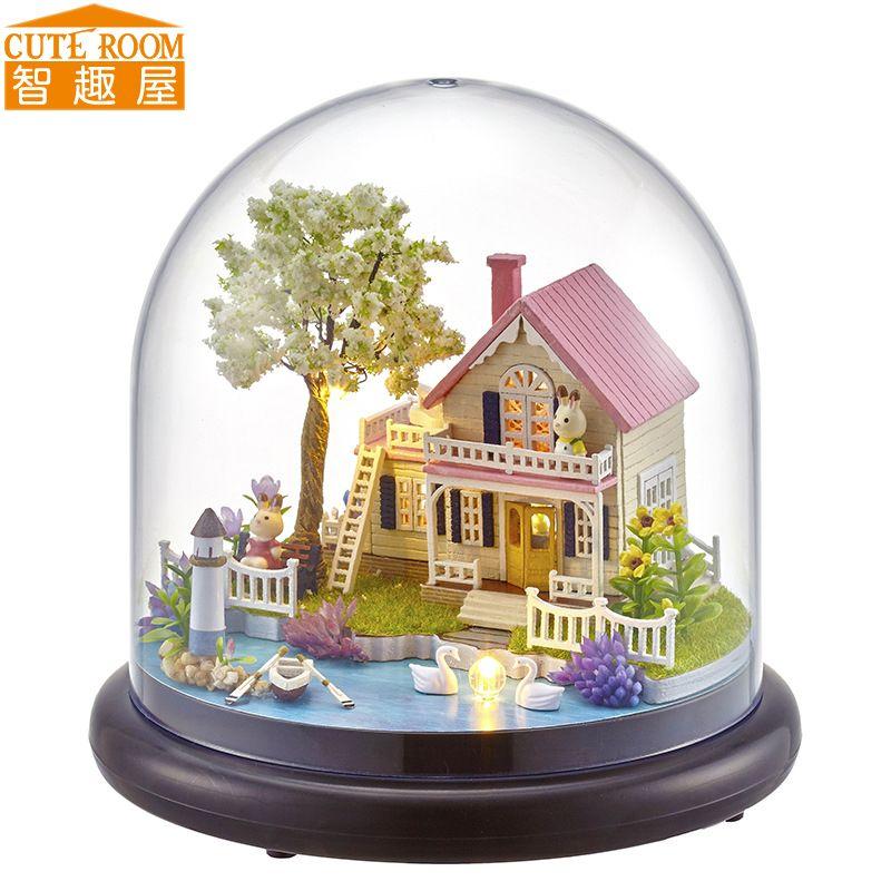 Cutebee bricolage maison Miniature avec meubles LED musique couverture De poussière modèle blocs De construction jouets pour enfants Casa De Boneca B21
