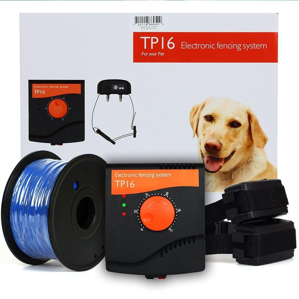 TP16 Pet Dog Elektrozaunsystem Wiederaufladbare Wasserdicht Schock Einstellbare Hund Erziehungshalsband Elektronische Pet Zaunsystem