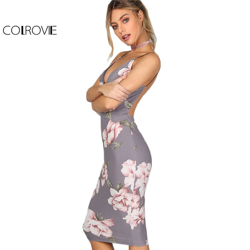 COLROVIE Bodycon Party Dress Women Grey Floral Sexy Backless Slip Summer Dresses Fashion Plunge Neck <font><b>Elegant</b></font> Midi Dress