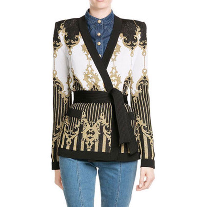TOP QUALITY 2017 Paris Fashion Designer Jacket Women's Tie Belt Gold Thread Knitting Cardigan Outer Sweater Jacket
