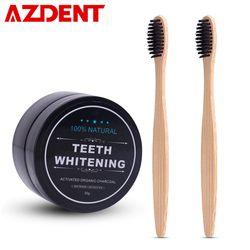 AZDENT Pemutihan gigi Bubuk Set 2 Pcs Bambu Arang Pasta Gigi Pemutih Bubuk Gigi Sikat Gigi Kebersihan mulut Sikat Gigi