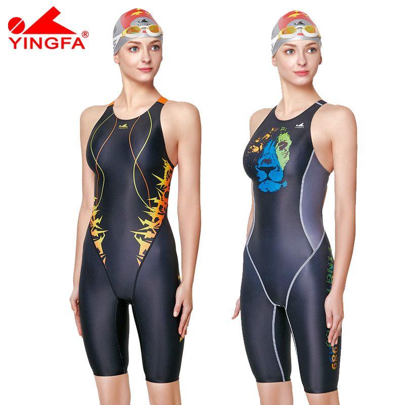 Yingfa professionnel compétition maillot de bain femmes filles une pièce maillots de bain enfants formation maillots de bain course genou maillot de bain