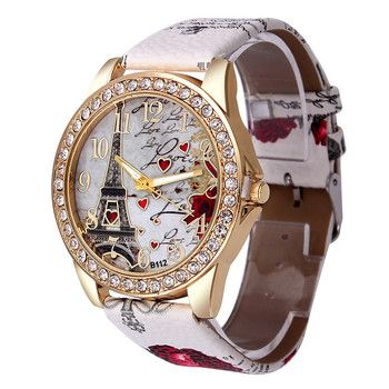 Best Deal Quartz Watch Women Fashion Tower Pattern Diamond Dial Watches Men Faux Leather Watch Women's Dress Clock Montre Relo