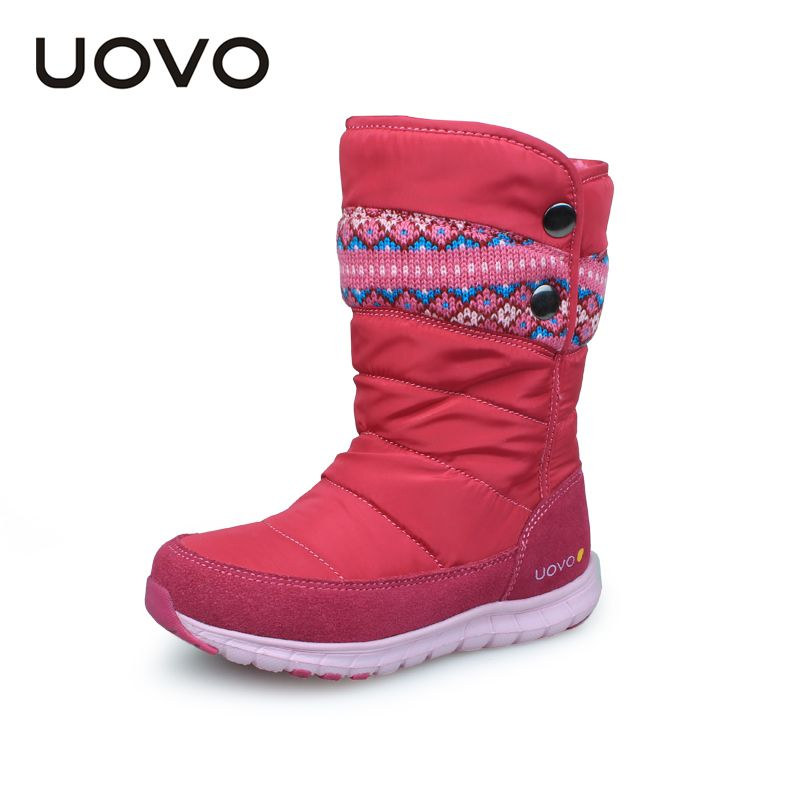 UOVO 2018 Winter Boots For <font><b>Girls</b></font> Brand Fashion Children Shoes Warm Rubber Boots For Kids <font><b>Girls</b></font> Snow Boots Princess Size 27#-37#