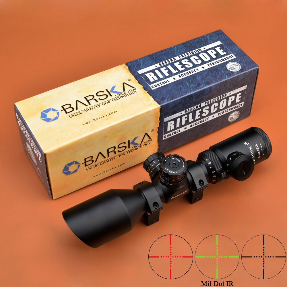 BARSKA Riflescope 3-9x42 R/G Compact Scopes Angled Objective for AR15 M4 M16 Hunting Rifle Scope With Weaver Mounts