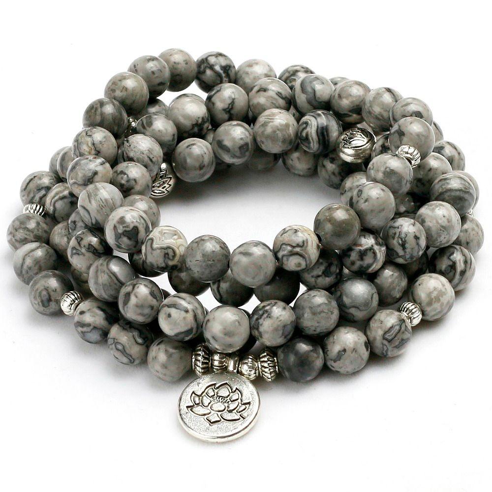 New Energy 8mm Beads Natural Light Grey Map Stone Beaded Charm Bracelet Men Women Bangle <font><b>Lover</b></font> Gift Design Yoga Jewelry