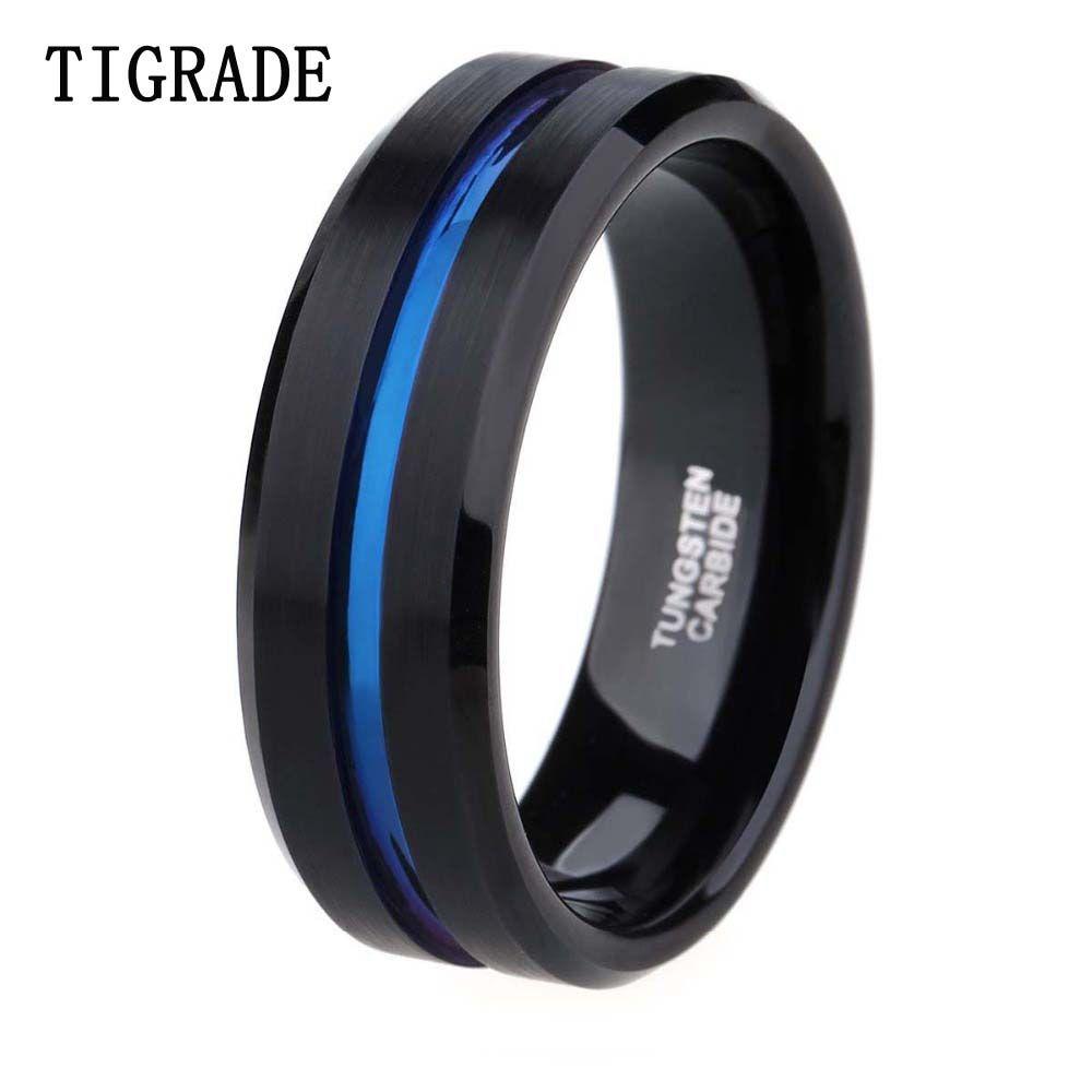 8mm hommes noir carbure de tungstène anneau mince ligne bleue bande de mariage Vintage hommes bijoux Anime Anel Masculino Aneis Alliance