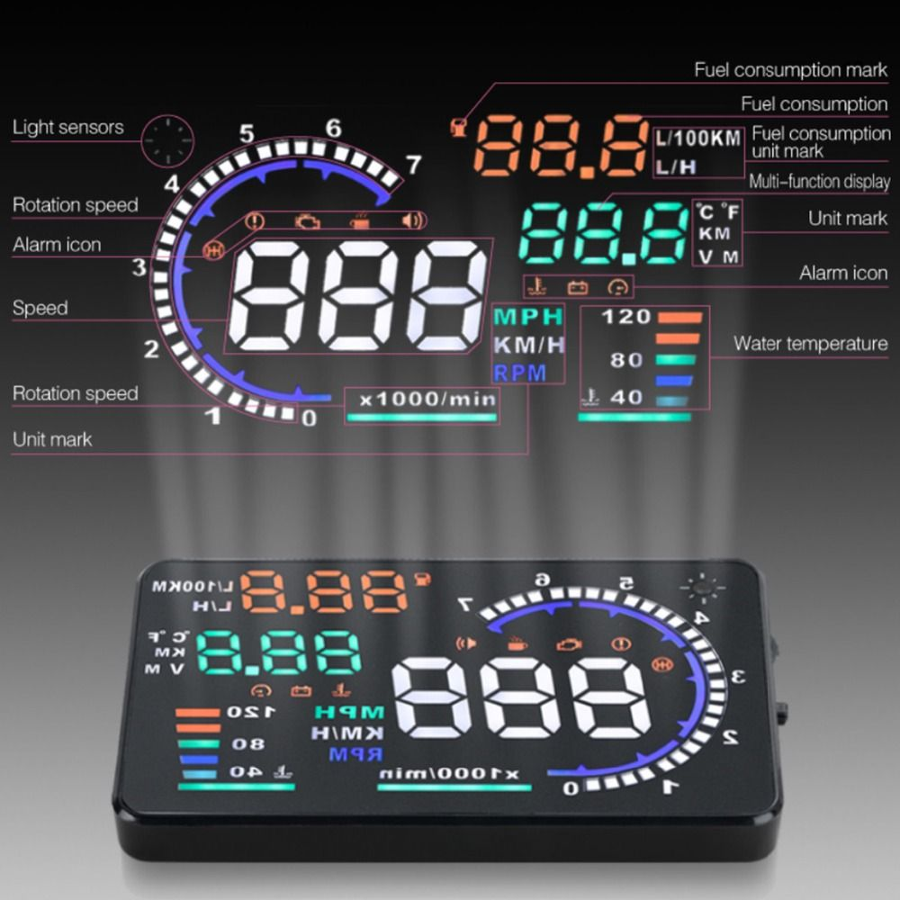 Newest A8 HUD Head Up Display LED Windscreen Projector Speeding Warning Fuel Consumption Data Diagnostic Tool Free Shipping