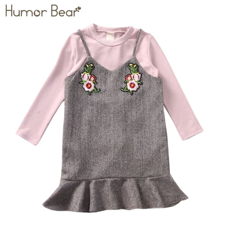 Humor Bear 2017 New Autunm Children Clothing Suspender Dress +T-shirt 2PCS Suit Baby Girls Dress OF 3-7Y Girls Clothing Dress