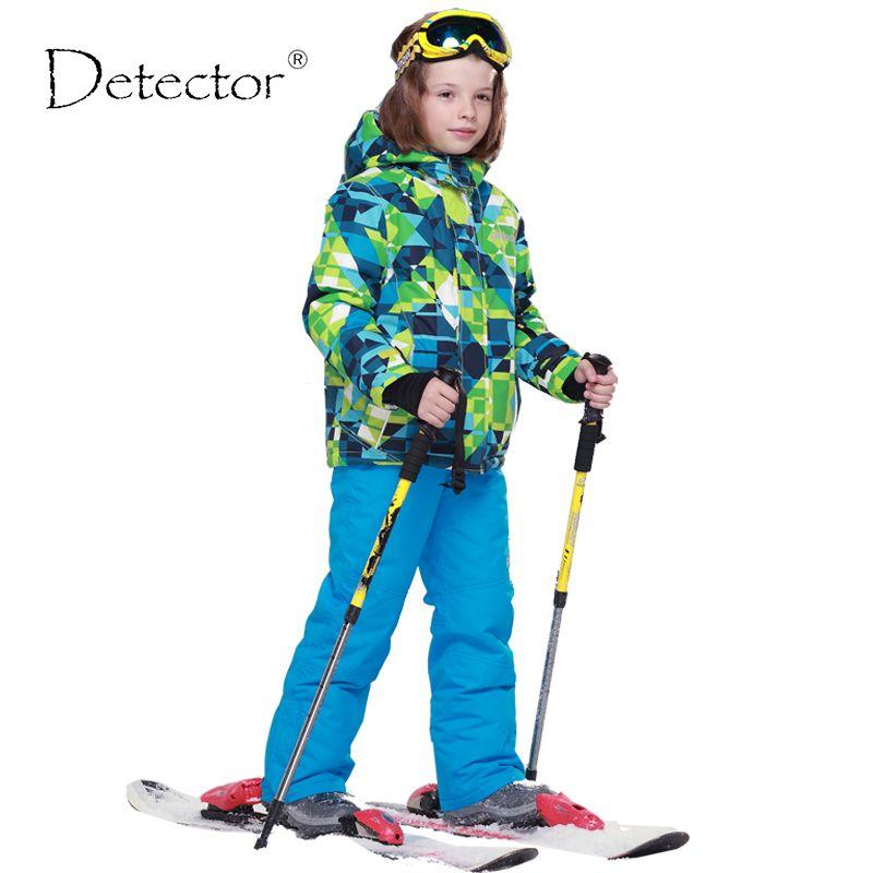 Detector Boys Ski Sets Winter Waterproof Windproof <font><b>Kids</b></font> Ski Jacket Children Outdoor Warm Hooded Snowboard Sports Suits