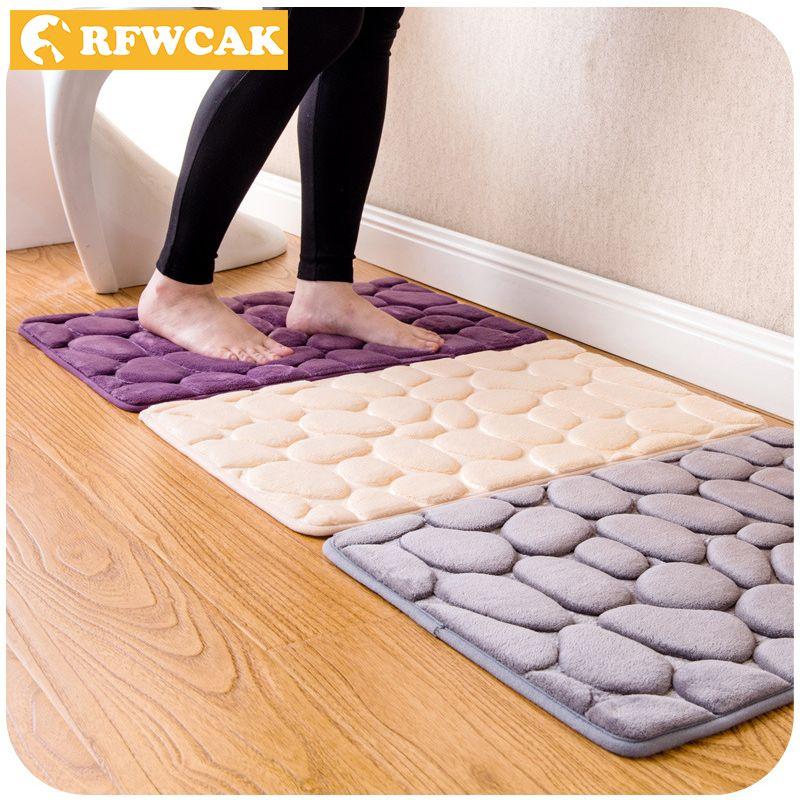 RFWCAK Coral Fleece Bathroom Memory Foam Rug Kit Toilet Pattern Bath Non-slip Mats Floor Carpet Set Mattress for Bathroom Decor