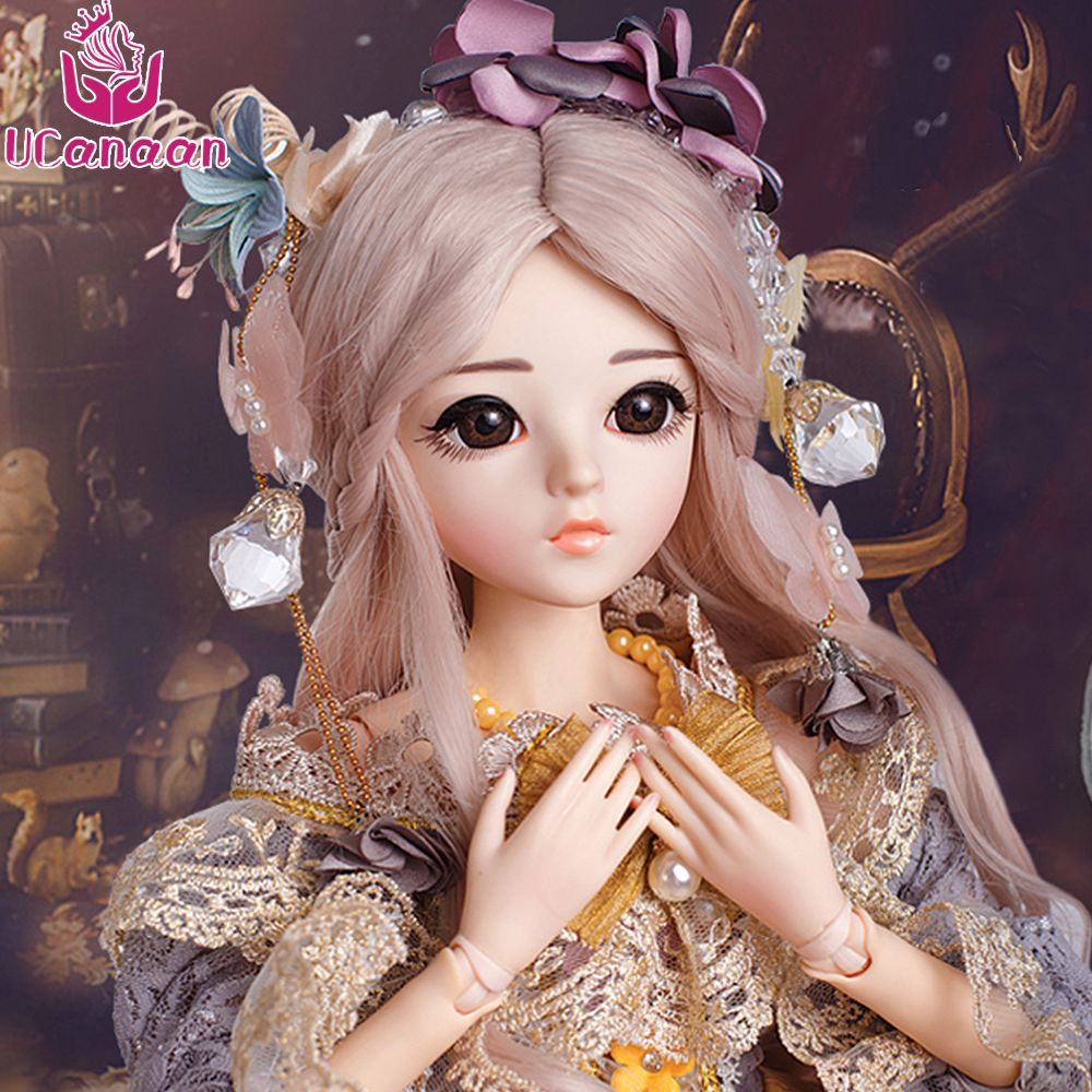 UCanaan SD BJD 1/3 Girl Dolls Brown Eyes With BJD Clothes Wigs Shoes Makeup 100% Handmade Beauty Toys Silicone Reborn BJD Doll