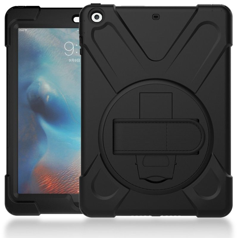 Hmsunrise Case For apple new ipad 9.7 2017 Kids Safe <font><b>Shockproof</b></font> Soft Silicone Stand Armor Cover Hand hold function A1822 A1823