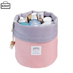Mode En Forme de Tonneau Voyage Sac Cosmétique Make Up Sac Cordon Élégant Tambour Kit de Lavage Sacs Maquillage Organisateur De Stockage De Sac De Beauté