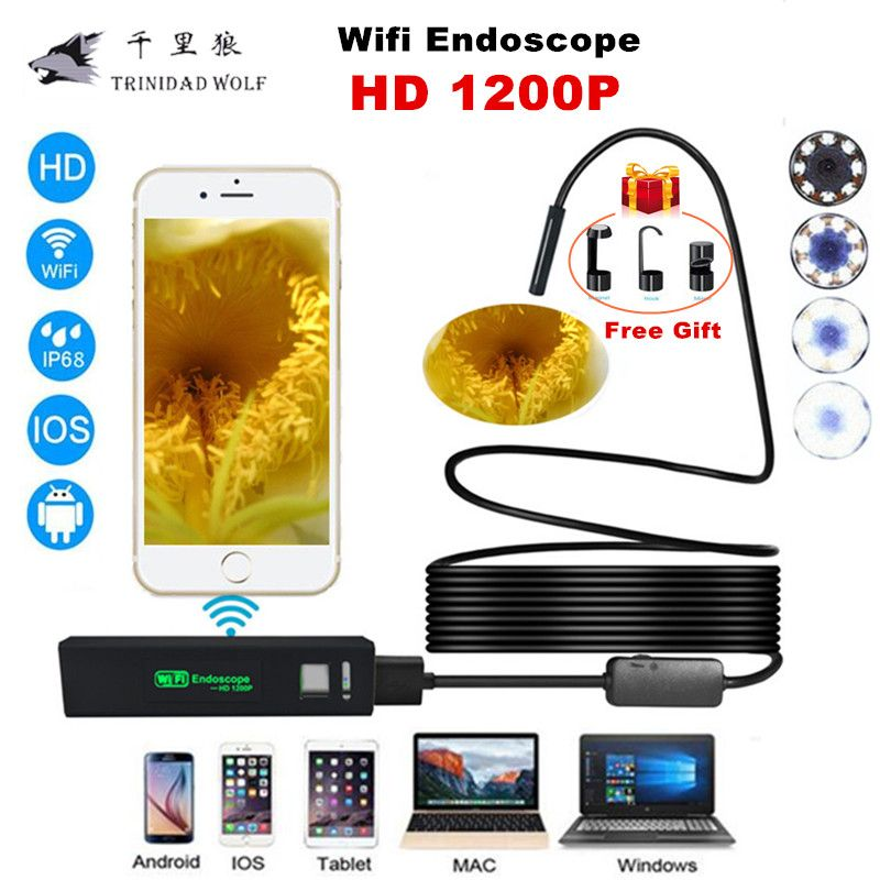 TRINIDAD WOLF Wifi Endoscope Camera 1200P 8mm for iphone Android Windows MAC Borescope Waterproof IP68 Tube <font><b>Inspection</b></font> Endoscope