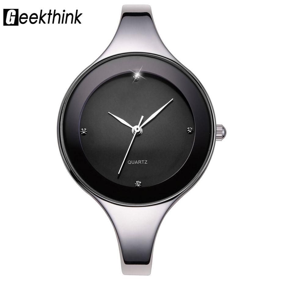 Geekthink Элитный бренд мода кварцевые часы Для женщин Дамы Нержавеющаясталь браслет Часы Повседневное часы Женское платье подарок Relogio