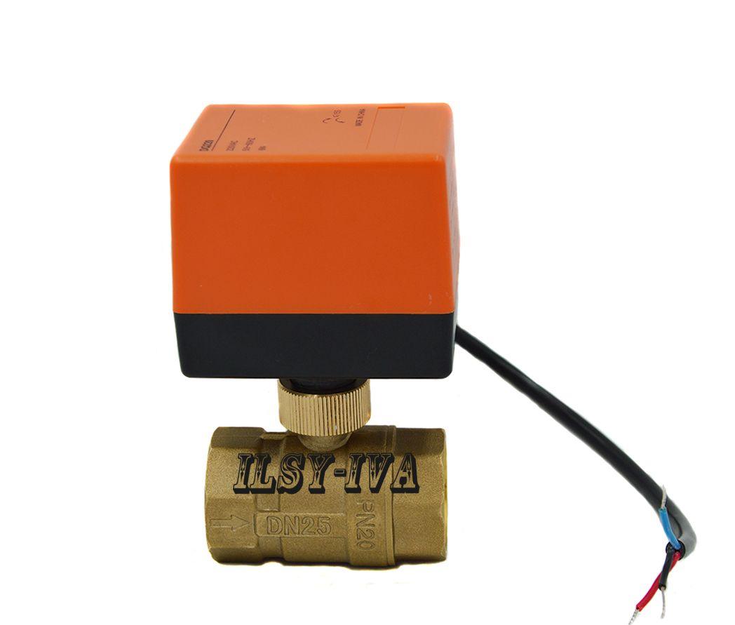 DN20 DN25 laiton robinet à tournant sphérique électronique à alésage complet, AC24V/AC 220 V vanne à boisseau sphérique motorisée à 2 voies