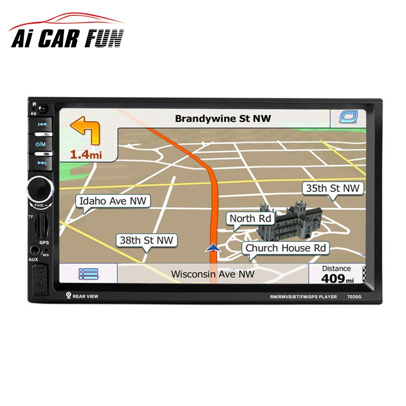 7020G 7'' 2 Din Touch Screen Car Radio DVD MP5 Player Bluetooth GPS Navigation Support Steering Wheel Function Remote Control