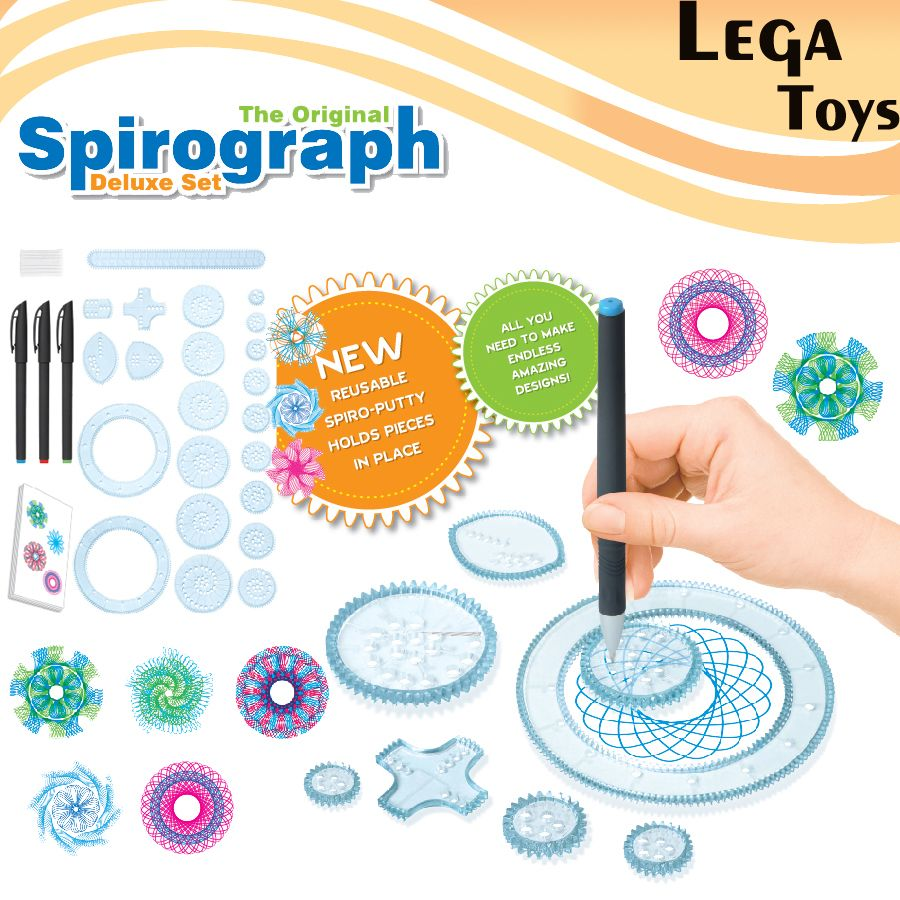 Spirograph Drawing toys set 20 Accessories Creative Draw Spiral Design Interlocking Gears & Wheels,Creative Drawing For children