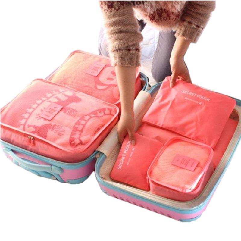 6 pcs Sac De Stockage De Voyage Ensemble Pour Vêtements Tidy Organisateur Armoire Pochette Valise Voyage Organisateur Sac Cas Chaussures Emballage Cube sac
