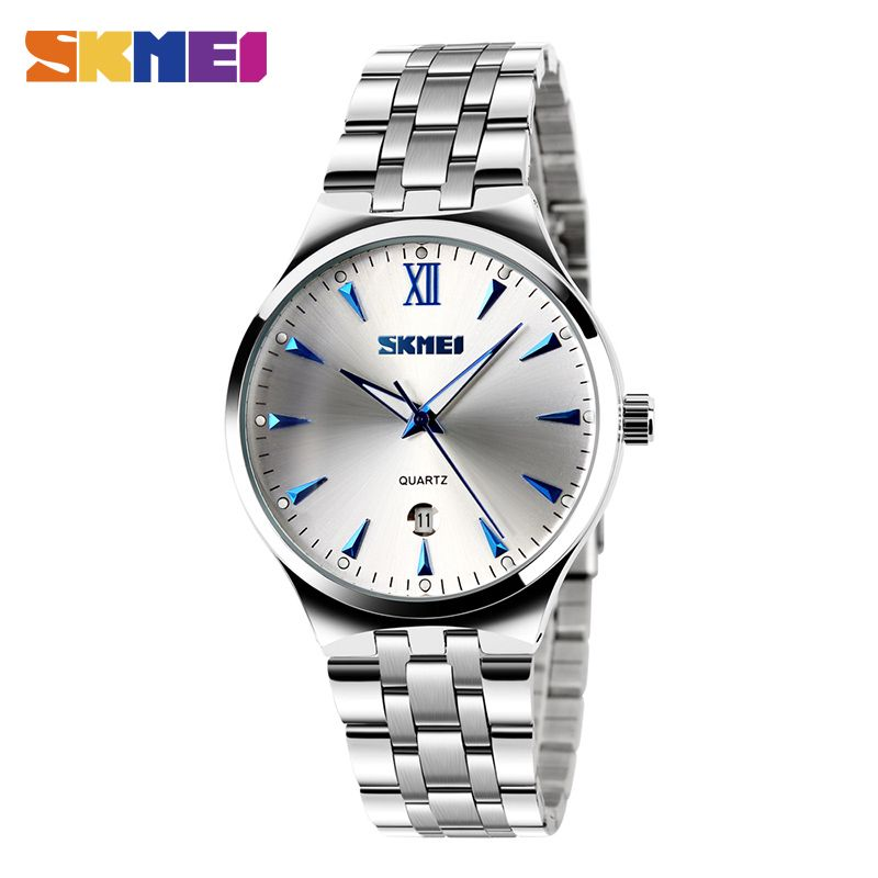 SKMEI Men Women Stainless Steel Quartz Wristwatches Top Brand Calendar Fashion Watch Waterproof Sport Watches <font><b>Relogio</b></font> Masculino