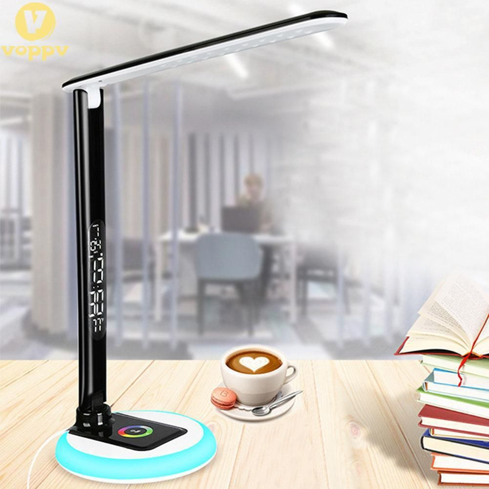 Led Desk Lamp With Usb And Eu Plug Dimmable Light With Perpetual Calendar Digital Clock Folding Modern Table Lamps AUD9066