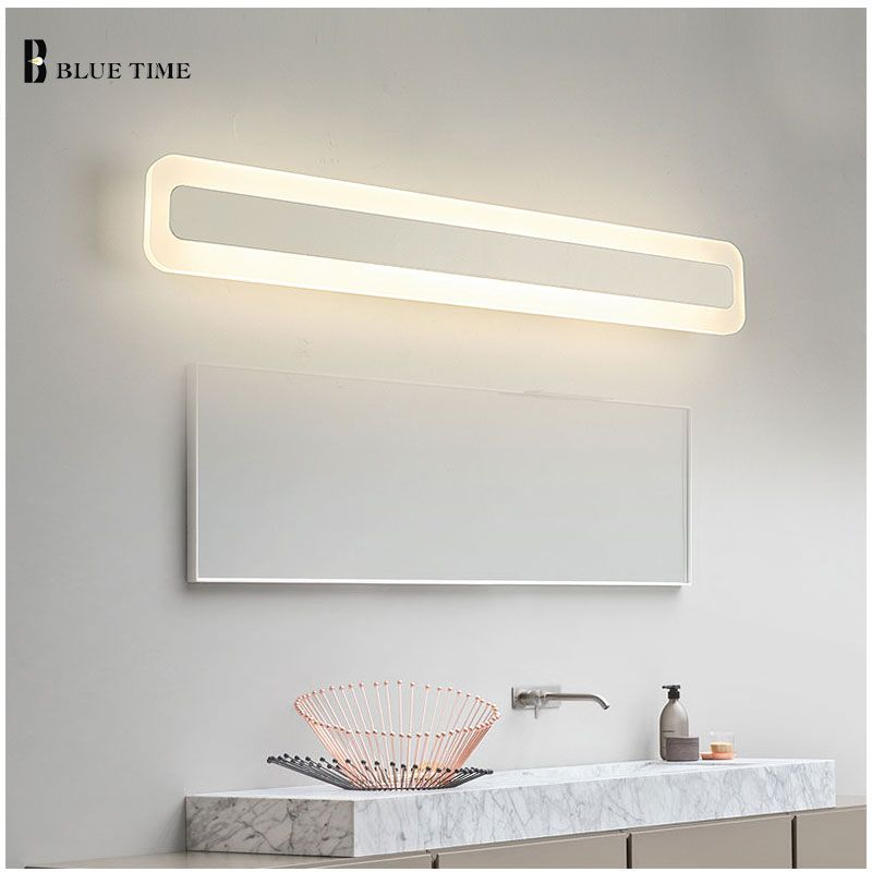 Acrylic Bathroom Mirror Front Light LED Wall Lamp Modern For Bathroom Bedroom LED Sconces Wall Lights Luminaria 120 100 80 60CM